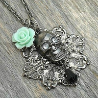 Skull Necklace, Rose Necklace, Mint Green, Mint Green Rose, Gothic, Goth, Gothic Lolita, Memento Mori, Victorian Gothic, Filigree Necklace,
