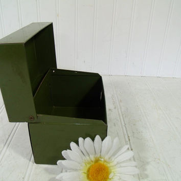 Vintage J Chen and Co. Military Fatigue Olive Green Metal Recipe Box - Medium Size 6 x 4 Inch File Card Holder - Office Decor File Organizer