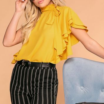 Make A Statement Mustard Ruffle Blouse