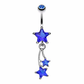 Shooting Star Sparkle Belly Button Ring