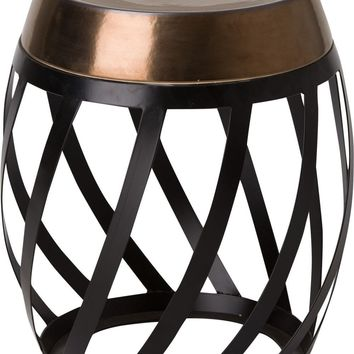 Lexa Metal Stool/Table Powedercoated Black With A Gold Ceramic Top