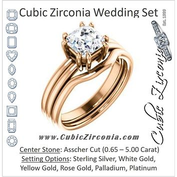 CZ Wedding Set, featuring The Marnie engagement ring (Customizable Asscher Cut Solitaire with Grooved Band)