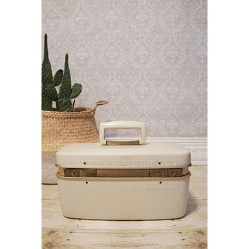 Vintage 1960s Train Case + Milk White Hard Luggage Case