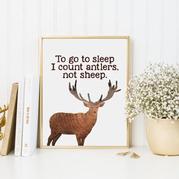To go to sleep, I count antlers not sheep, Deer art print, watercolour art print, Rustic nursery decor, country home decor, A-1023