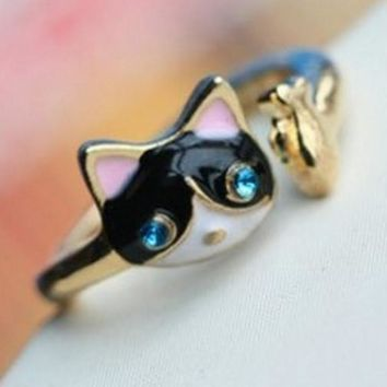 Jewelry Ring The Cat Rhinestone