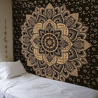 The Peyton Gold Black Lotus Wall Beach Boho Tapestry