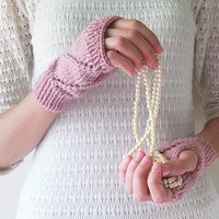Hand Knit Fingerless Gloves in Pinkish Powder - Arm Warmers - Womens Seamless Knit Gloves - Winter Fashion