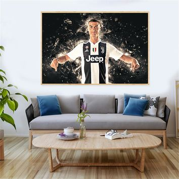 Sport Cavnas Painting Boys Wall Art Print Juventus Soccer Paulo Douglas Abstract Oil Painting Wall Pictures for Living Room