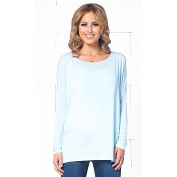 Mint Green Piko Bamboo Long Sleeved T-Shirt Loose Slouch Boat Neck  Basic Classic Tee Top