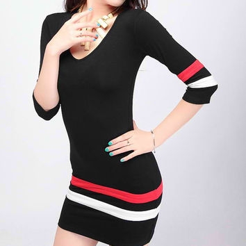 Striped 3/4 Sleeve  V-Neck Bodycon Mini Dress