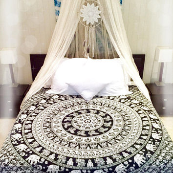 Black N White Elephant Mandala Tapestry Hippie Tapestry Bohemian Tapestry Queen Bedspread