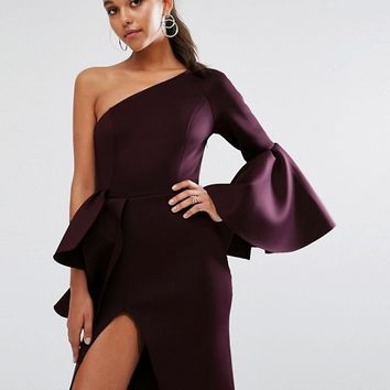 ASOS PREMIUM One Shoulder Sleeve Drama Peplum Midi Dress at asos.com