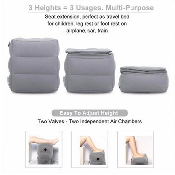 Travel Foot Rest Pillow Inflatable Height Adjustable Kids Flight Footrest Pillow Two Valves Design Inflatable  Foot Rest Pillow