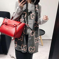 GUCCI Hot Sale Couple Fashion Double G Jacquard Cashmere Cape Scarf Scarves Shawl Accessories