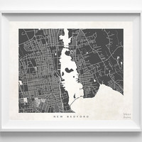 Massachusetts, New Bedford, Print, Map, MA, Poster, State, City, Street Map, Dorm, Art, Decor, Town, Illustration, Room, Wall Art, Customize