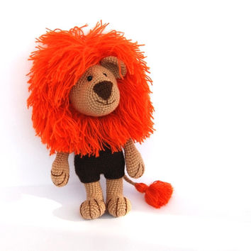 crocheted lion, autumn orange amigurumi animal, woodland toy for children