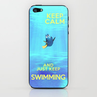 Keep Calm and Just Keep Swimming REDUX  iPhone & iPod Skin by -raminik Design- | Society6