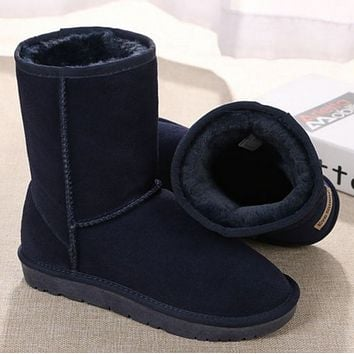 """UGG"" Women Trending Fashion Wool Snow Boots F black"