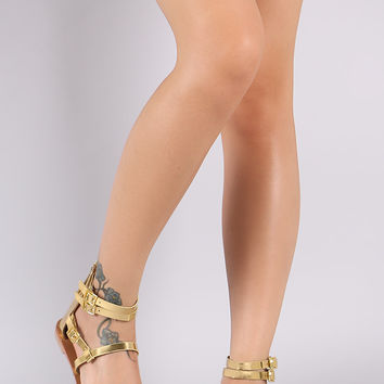 Qupid Buckled Strappy Gladiator Flat Sandal