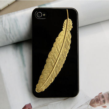 Golden angel feather iPhone 4 Case, iphone 4 cover,  New Hard Fitted Case For iphone 4 & iphone 4S, Apple iPhone 4 Case