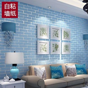 Sticker light blue 3 d brick grain bedroom retro brick wall paper porch stick sticky wallpaper from the sitting room TV -545z