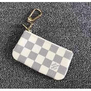 LV Louis Vuitton Fashion White Plaid Small Bag Change purse key bag