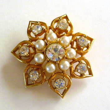 Pearl Rhinestone Brooch, Sarah Coventry Pin Brooch, SC Jewelry