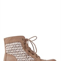 Short Combat Boot with Crochet Lace Trim