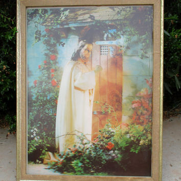 Vintage 3D Hologram Jesus Knocking at the Door Wall Art Hanging Revelation 3:20 Christian Religious Picture