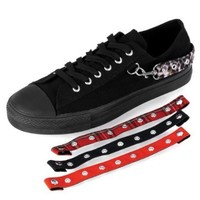 MENS Canvas Low Top Shoes Rocker Emo Bondage Strap Sneaker Black Size: 6