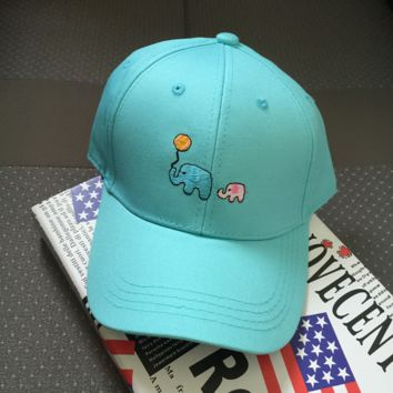 Blue Embroidered Elephant Baseball Cap Hat