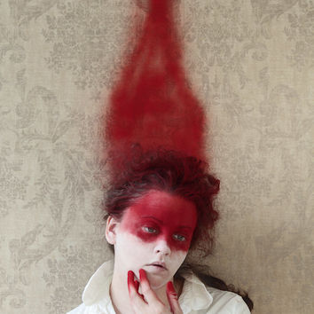 In The Red - FREE SHIPPING - Print Spray Paint Blood Streak White Surreal Face Girl Weird Portrait Photo Art Surreal Hand Tipped Creepy