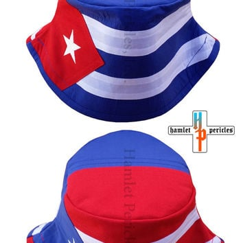 Cuba Puerto Rico Combo Flag Bucket Hat | Cuba Flag Puerto Rico Flag | Country Hat | Embroidered Hat | Red White Blue Hat by Hamlet Pericles