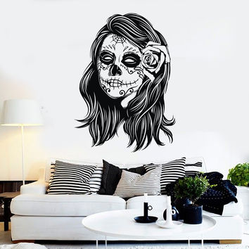 Vinyl Wall Decal Woman Calaveras Makeup Mexico Day of the Dead Stickers Unique Gift (ig4576)