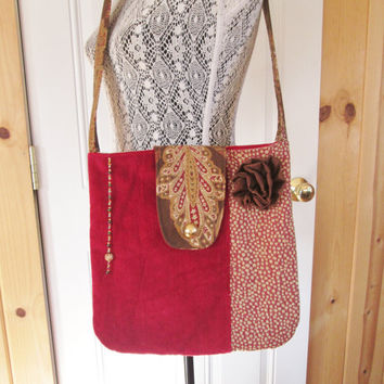 Valentines Day Boho Tapestry Carpetbag Tote Purse