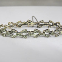 Sterling Silver Marcasite Bracelet, Ribbon Bow Shaped Links, Chain Link Bracelet, 6.50 Inches