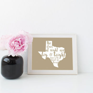 Texas Stars Print in Kraft // Texas Decor // Texas Art // The Stars at Night Are Big & Bright