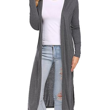 Womens Gray Cardigan Open Front Long Duster:  S/M/L