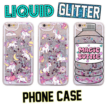 Glitter Liquid Pink Unicorn Magic Bottle Cartoon Hard Case Coque Fundas Capa Para For iPhone 7 7Plus 6 6S 6Plus 5 SE