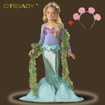 Girls Little Mermaid Dresses with Headwear Kids Sequins Mermaid Princess Dress Kids Fancy Halloween Carnival Cosplay Costumes