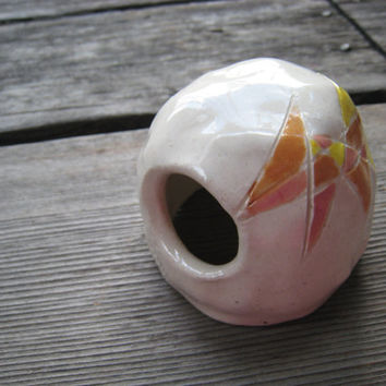 Ceramic Fish Cave - Aquarium Decoration - Geometric Design - Orange Pink Yellow - White Dome - Ceramic Sculpture - Ceramics and Pottery