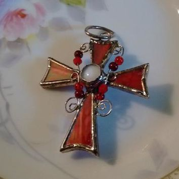 Christian Cross: Red Stained Glass