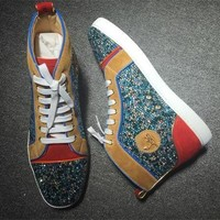 Christian Louboutin CL Rhinestone Style #1944 Sneakers Fashion Shoes Best Deal Online
