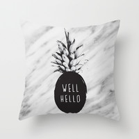 Well Hello Throw Pillow by Cafelab