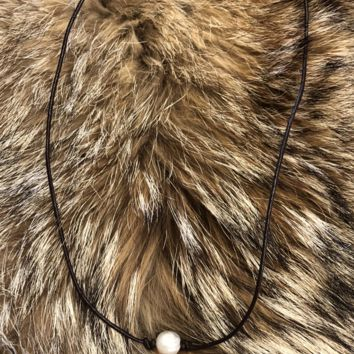 Brown Necklace w/ Pearl