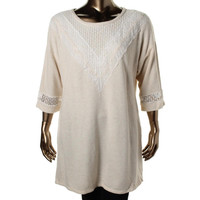 Style & Co. Womens Plus Knit Lace Trim Tunic Top