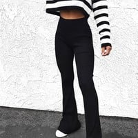 Ribbed Knit Flare Pants
