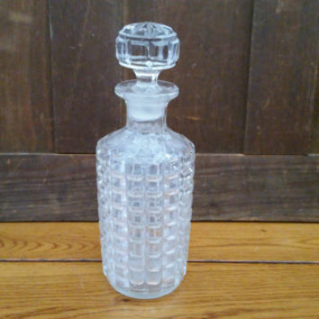 Vintage Round Cut Glass Decanter with Glass Stopper