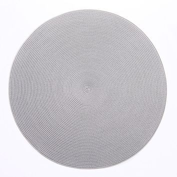 """15"""" Round Linen Braid Placemat S/4 