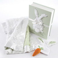 "Baby Aspen ""Bunnies in the Garden"" Luxurious 3-Piece Blanket Gift Set"